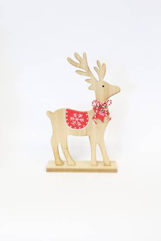 Wood Reindeer with Red Star Large