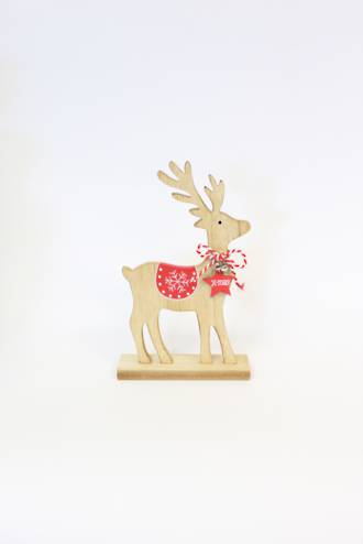 Wood Reindeer with Red Star Small