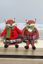 Tartan Hanging Fox Set of 2