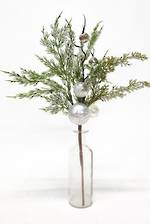 Pine Spray with Silver Baubles