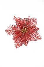 Glittered Poinsettia on Clip Red/Gold